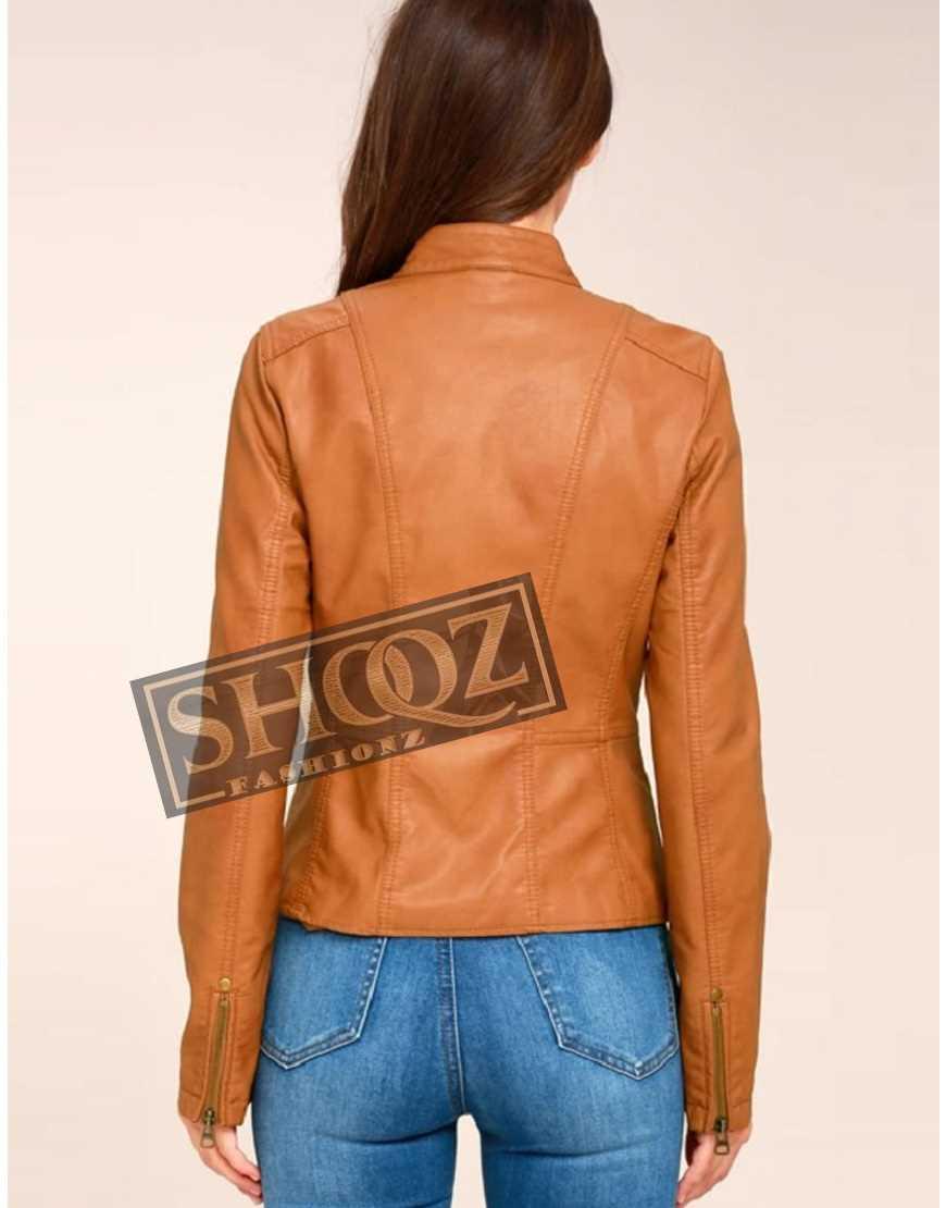 Tan Vintage Moto Biker Leather Jacket