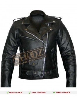 WOMEN BRANDO LEATHER MOTORCYCLE BLACK JACKET