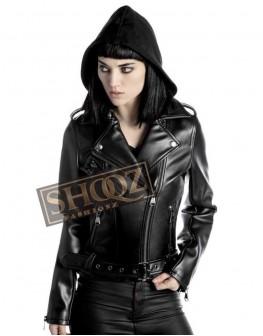 Women Brando Biker Black Leather Jacket