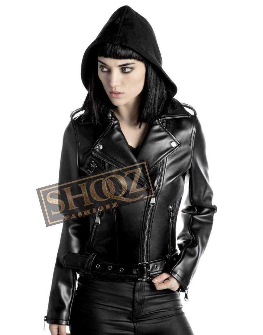 Women Brando Biker Black Leather Jacket