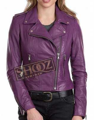 Women Classic Biker Leather Jacket