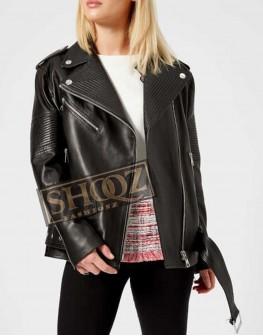 Women Oversized Black Biker Leather Jacket