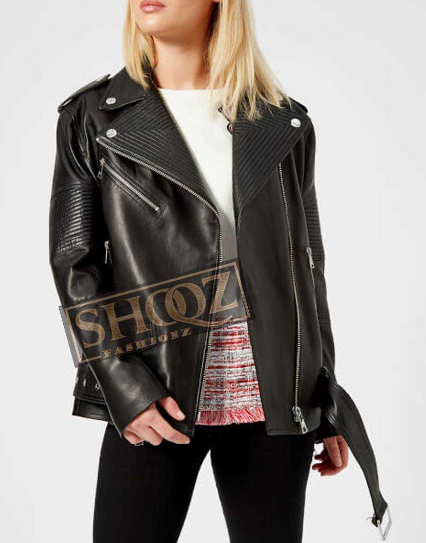 Women Oversized Black Biker Leather Jacket