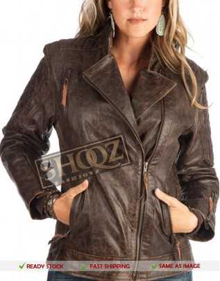 Women STS Ranchwear Brown Lucy Distressed Leather Jacket