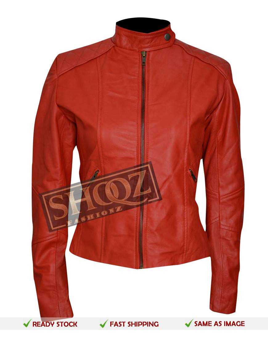 Women Slim Fit Red Biker Leather Jacket