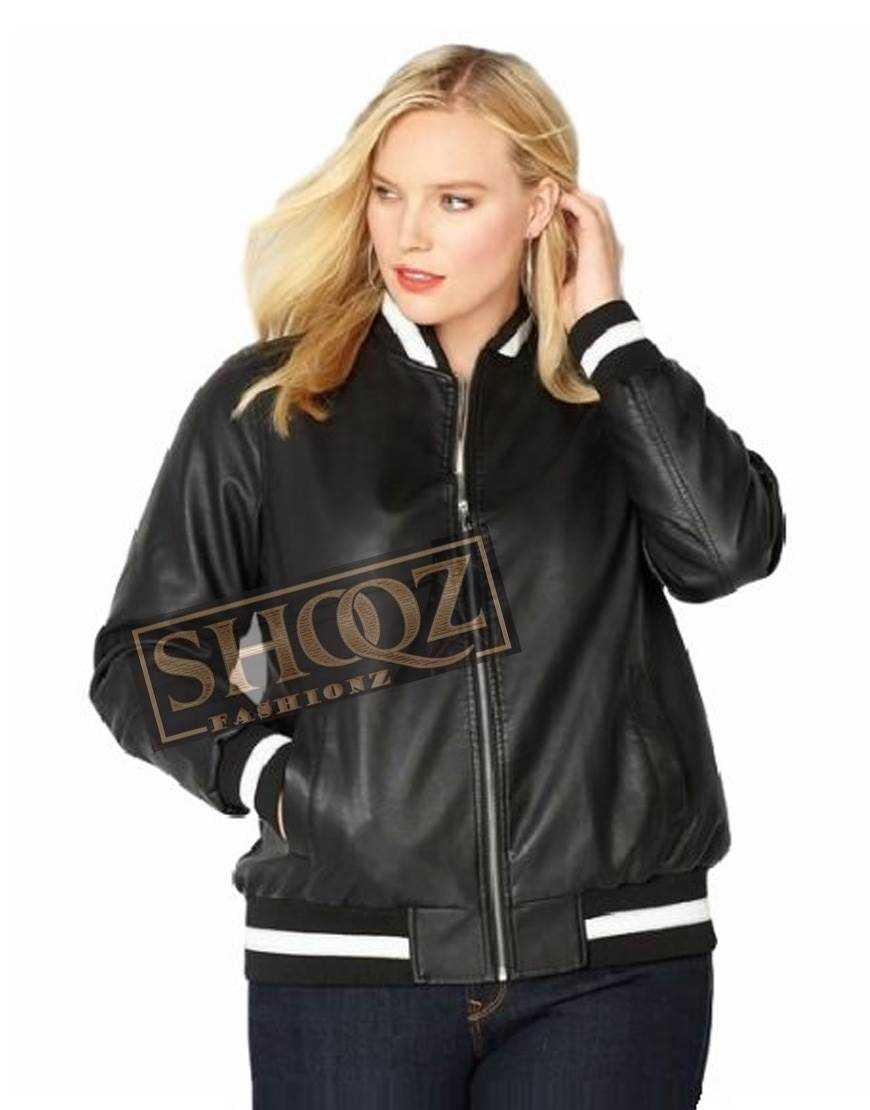 Women Varsity Bomber Black Leather Jacket