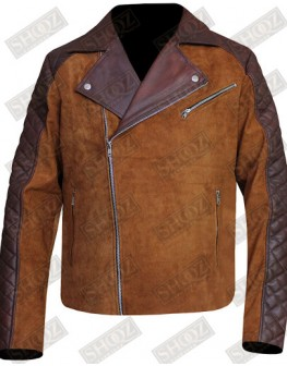 Cafe Racer Brown Suede Leather Jacket