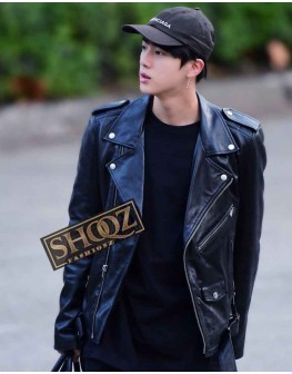 BTS Jin Black Biker Leather Jacket