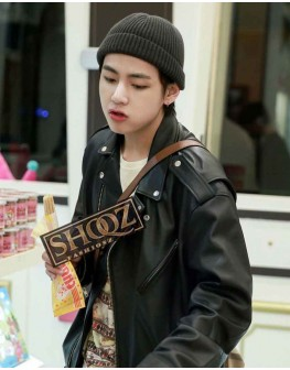 BTS V Black Biker Leather Jacket