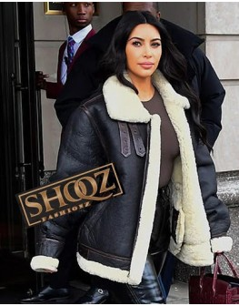 Kim Kardashian West Black Shearling Jacket