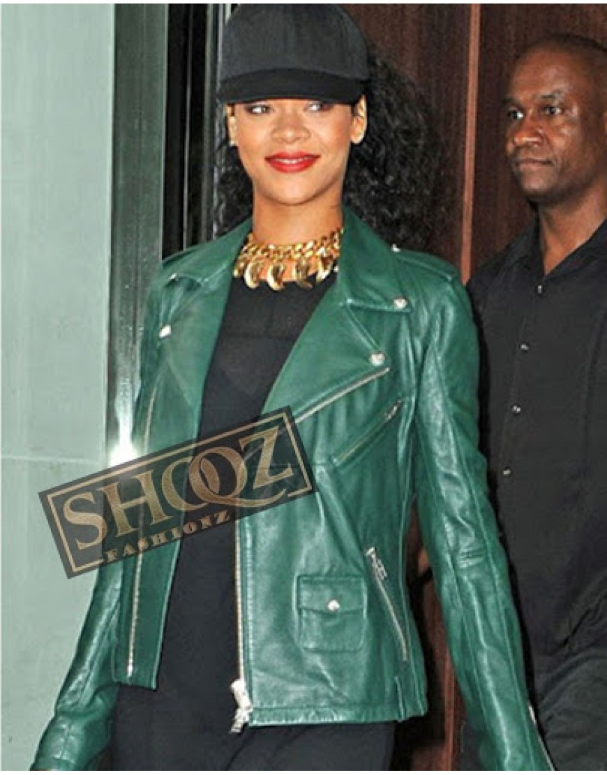 Rihanna Green Biker Jacket