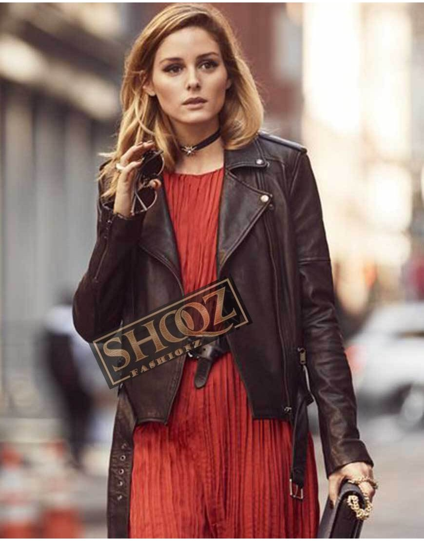 Olivia Palermo Biker Black Leather Jacket