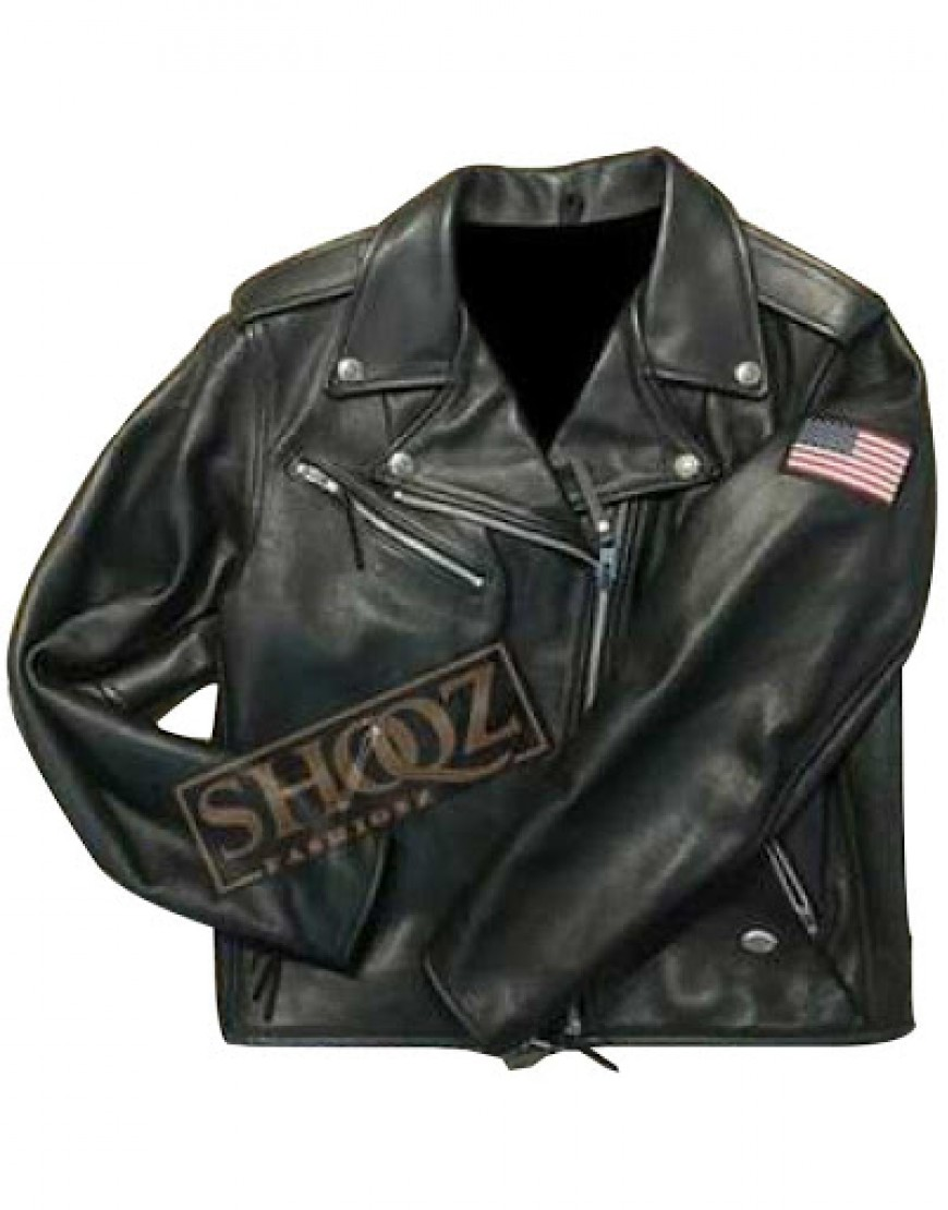 Harley Davidson Women Black USA Flag Motorcycle Riding Jacket