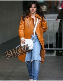Camila Cabello Tan Brown Leather Coat