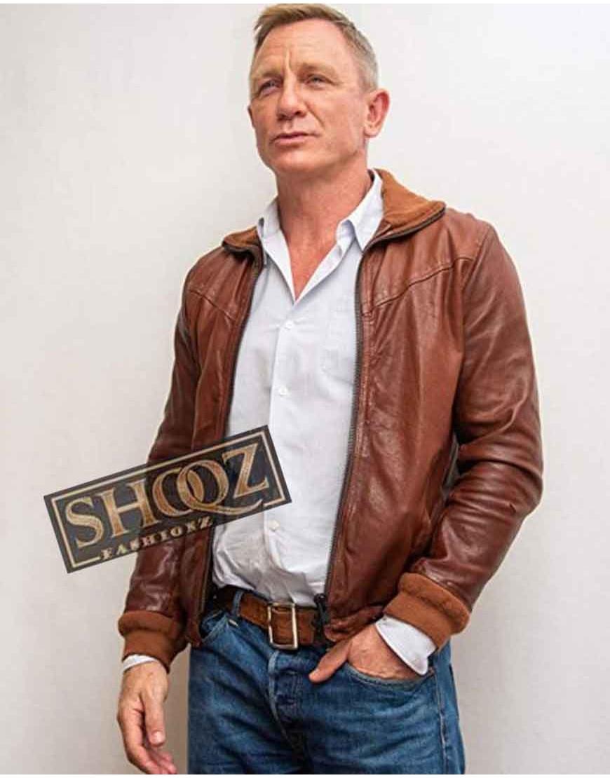 Daniel Craig Knives Out Benoit Blanc Brown Leather Jacket