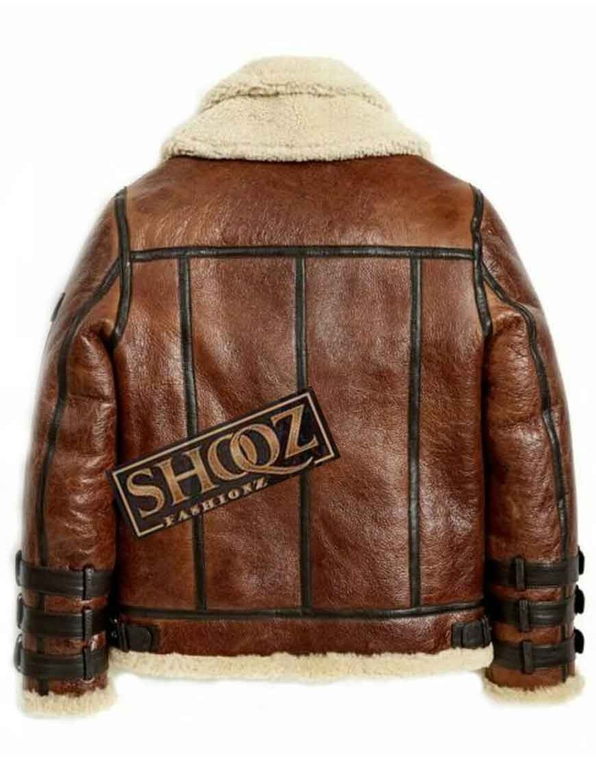 B3 Aviator Brown Waxed Shearling Leather Jacket
