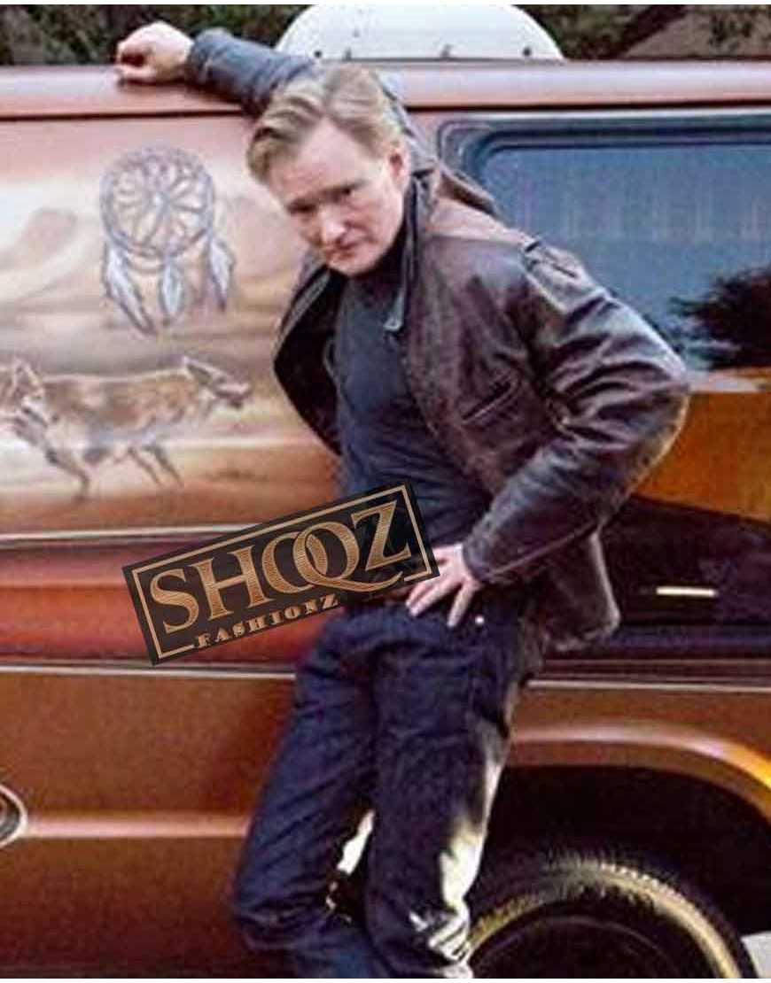 Conan O'Brien Brown Leather Jacket