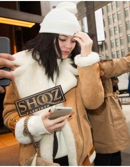 Kylie Jenner Shearling Bomber Suede Leather Jacket