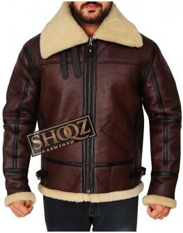 Men's Dark Brown Aviator Shearling Bomber Leather Jacket