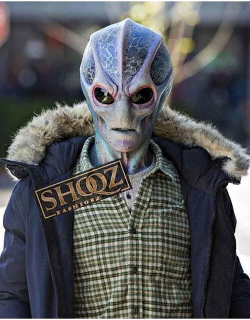 Alan Tudyk Resident Alien Harry Vanderspeigle Blue Fur Jacket