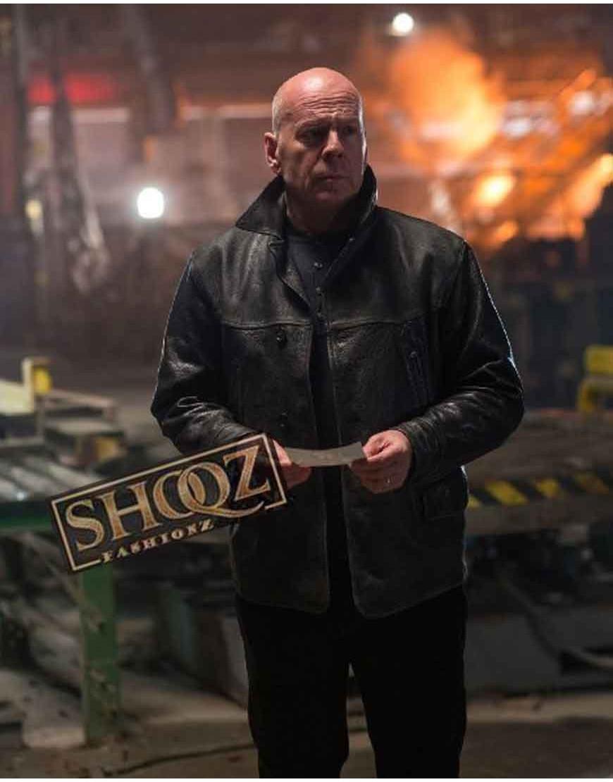 Extraction Bruce Willis Black Leather Jacket
