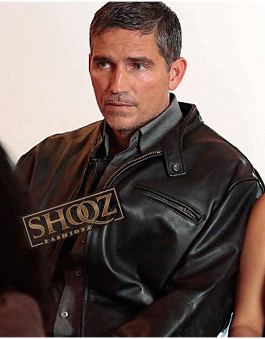 Person of Interest Jim Caviezel Black Leather Jacket