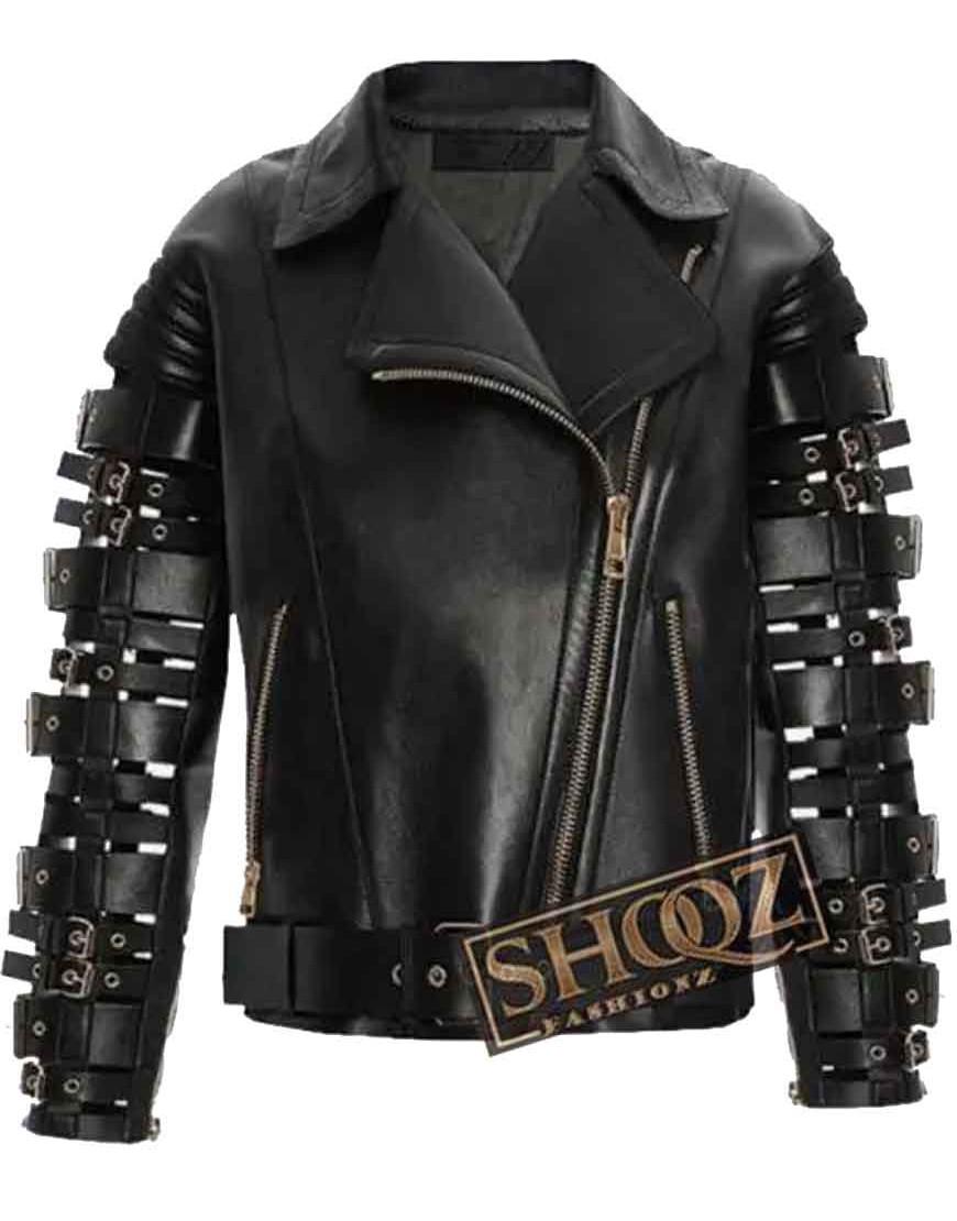 Zendaya Coleman Straps and Buckles Leather Jacket