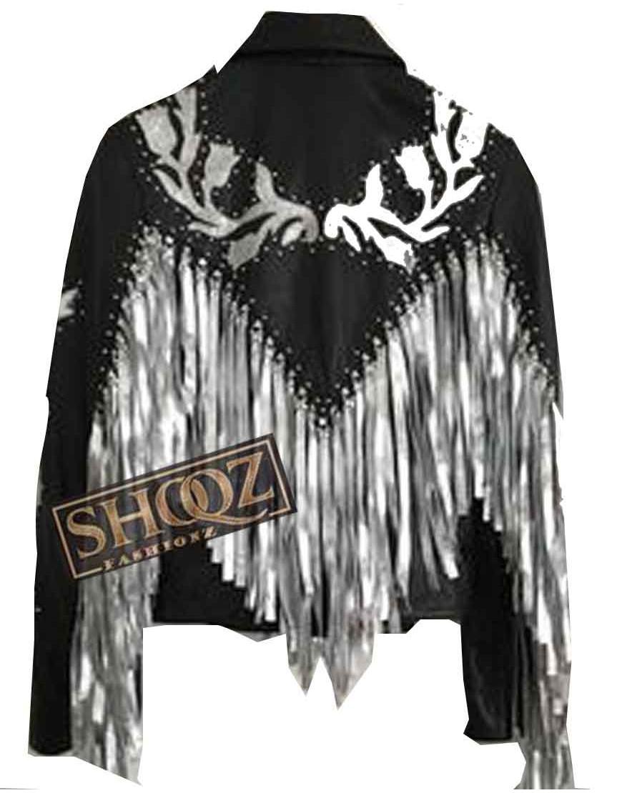 Birds Of Prey Margot Robbie Harley Quinn Fringe Black Leather Jacket