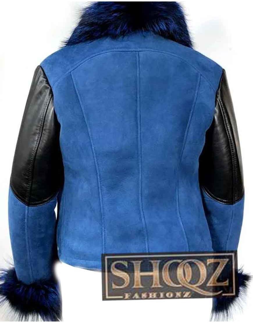Elizabeth Sheepskin Shearling Leather Blue Jacket