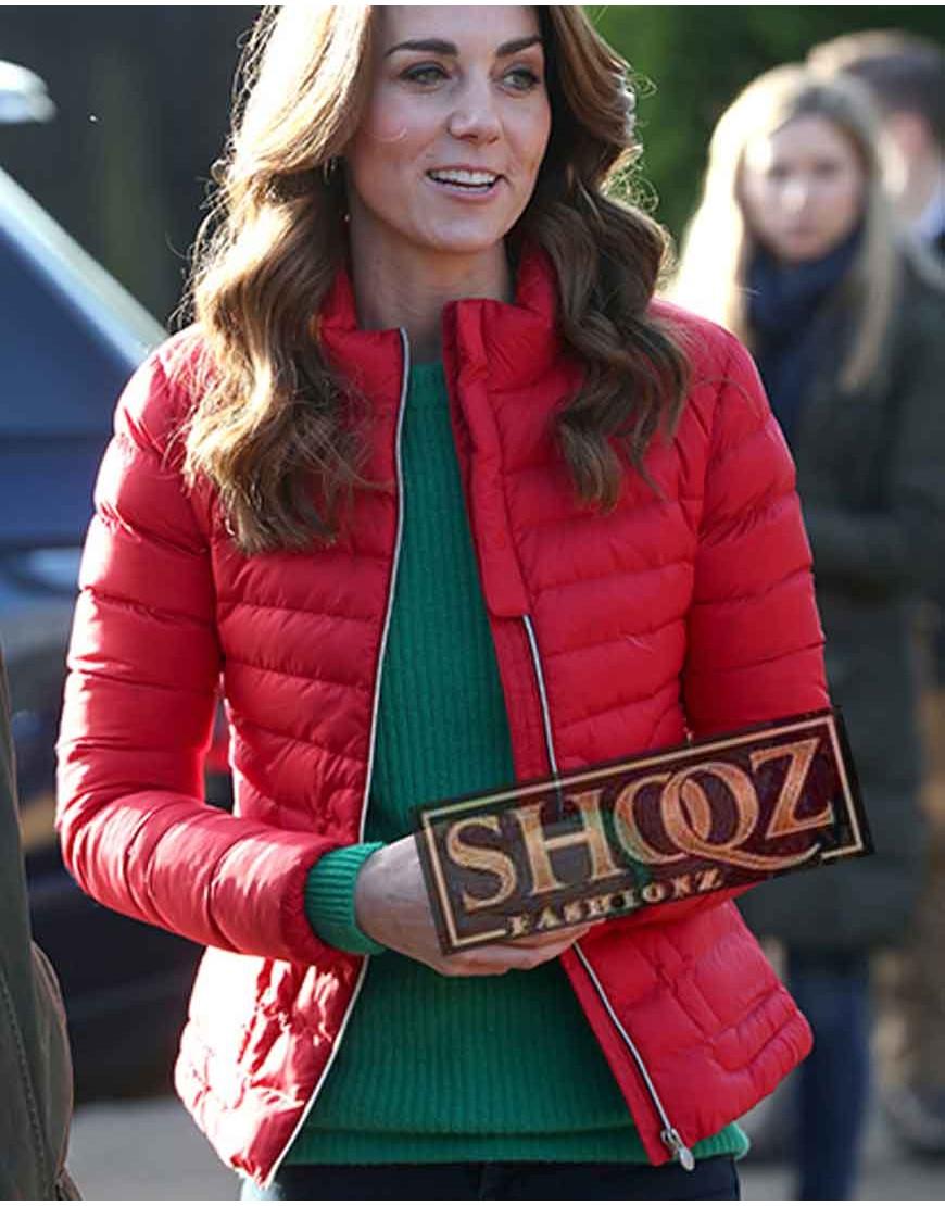 Kate Middleton Christmas Red Puffer Jacket