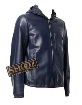 Blue Slim Fit Hooded Leather Jacket for Men's