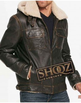 Brown Waxed Hooded Aviator Shearling Jacket For Mens