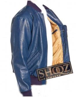 Blue Slim Fit Bomber Leather Jacket for Men's