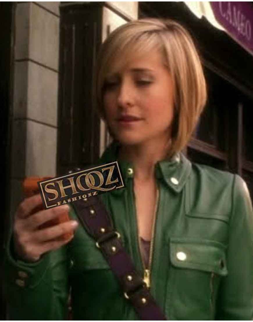 Allison Mack Smallville Chloe Sullivan Green Leather Jacket