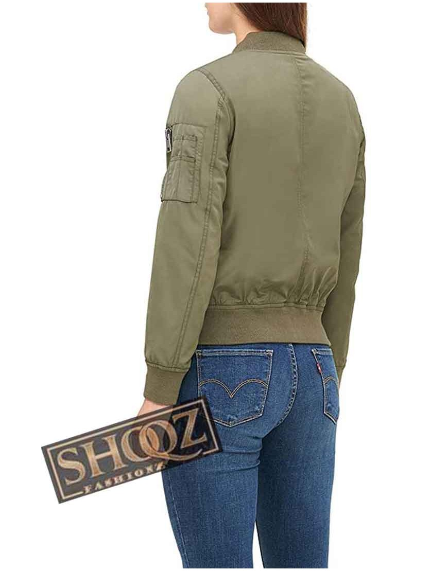 Army Green Bomber Leather Jacket