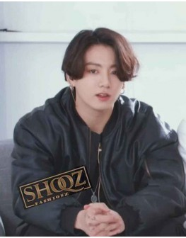 Jungkook Uinsex BTS Black Bomber Leather Jacket