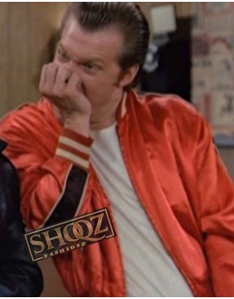 Lenny 1950s Lone Wolf Red Bomber Jacket