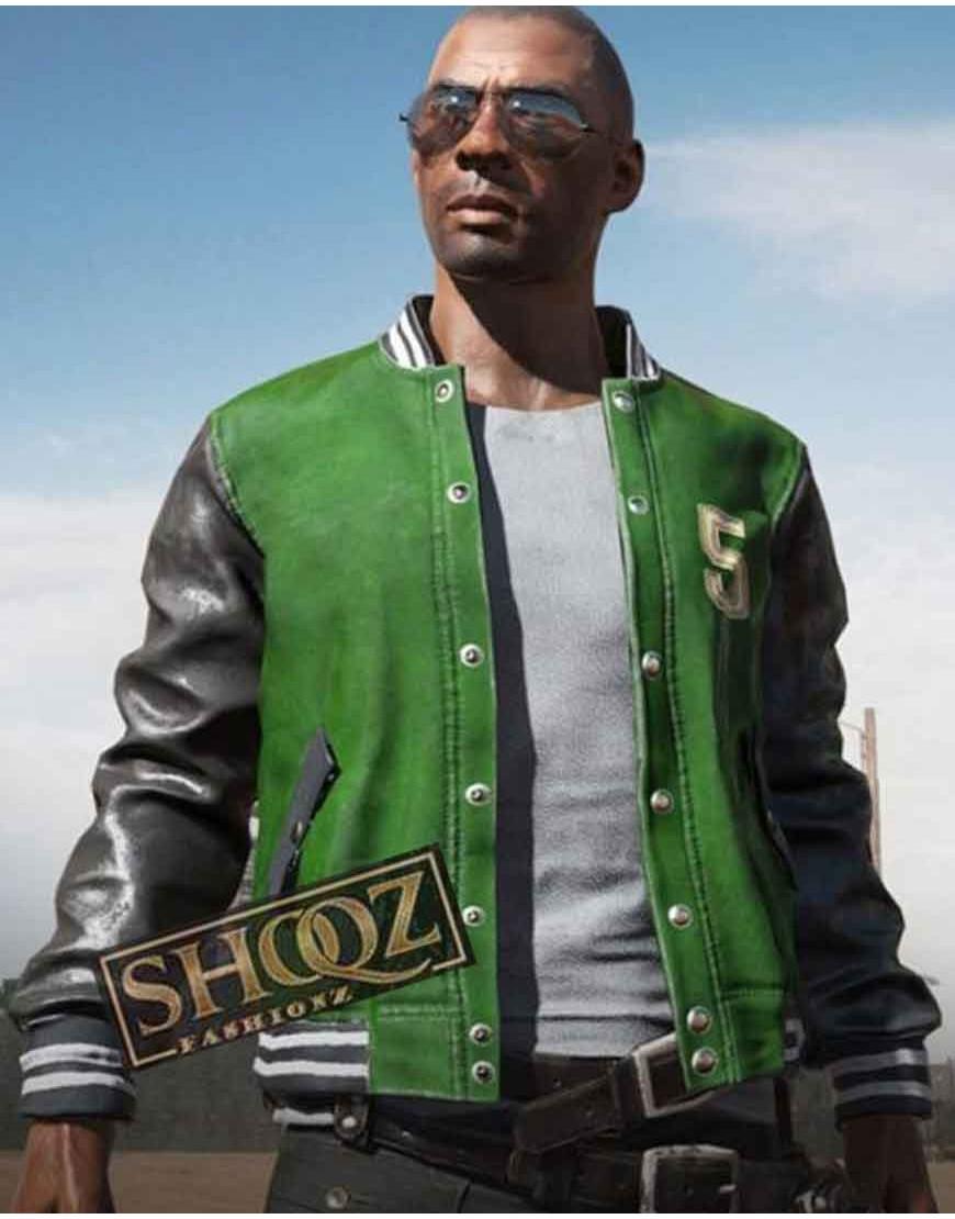 PUBG Green Varsity Bomber Jacket