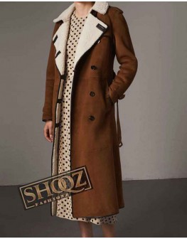 Women Double Breasted Brown Trench Coat