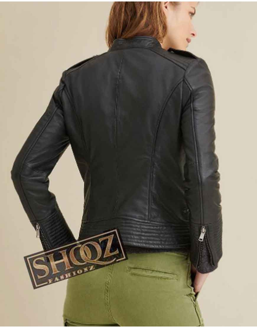 Monica Asymmetrical Black Leather Jacket
