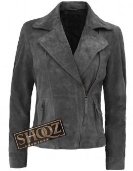 Womens Biker Grey Suede Asymmetrical Leather Jacket