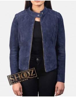 Kelsee Navy Blue Suede Biker Jacket For Women