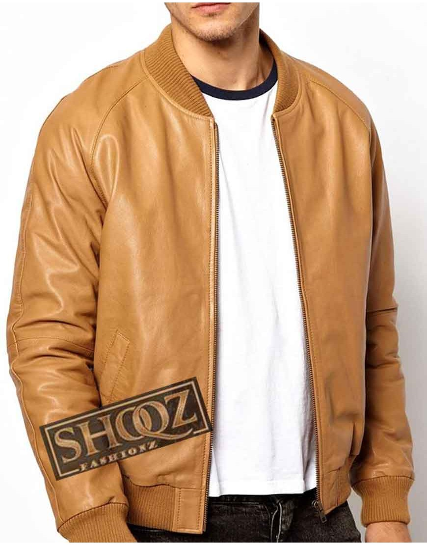 Tan Brown Bomber Leather Jacket Men