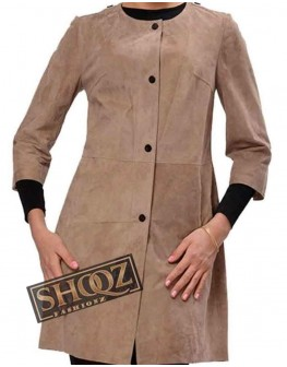 Womens Front Buttons Suede Leather Coat