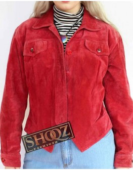 Women Style Red Suede Jacket