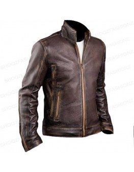 Men's Biker Cafe Racer Cowhide Vintage Jacket