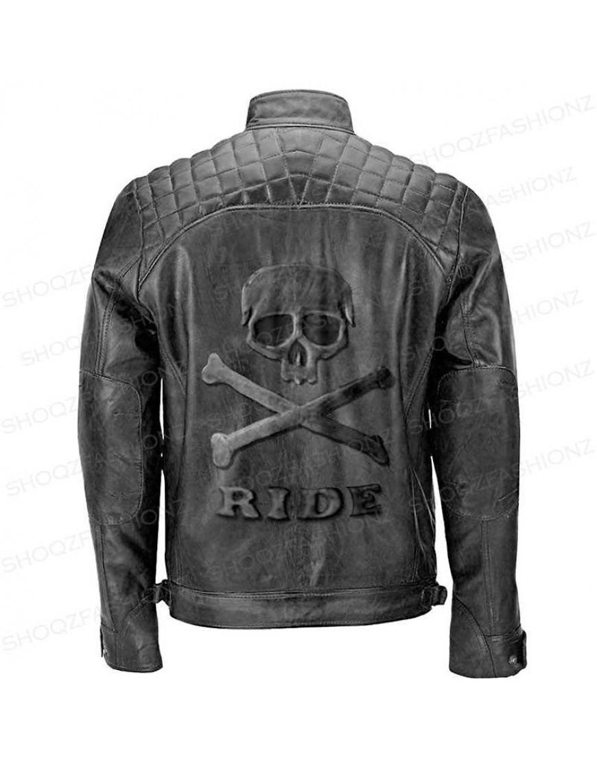 Black Biker Quilted Road Skeleton Rider Jacket