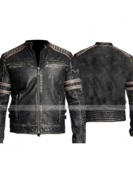 Men's Biker Vintage Retro 1 Distressed Leather Jacket