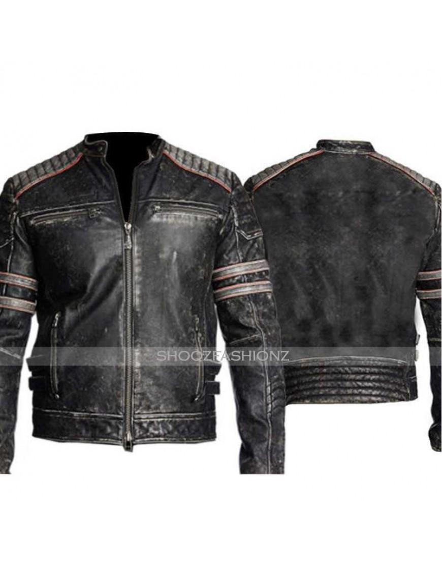 Men's Biker Vintage Retro 1 Distressed Leather Jacket