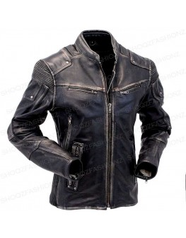 Men's Vintage Motorcycle Cafe Racer Distressed Leather Jacket